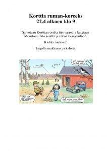 Ruman koreeks siivoustalkoot @ Korttian Monitoimitalo | Suomi